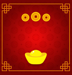 chinese gold ingot and coins on seamless pattern vector image