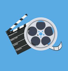 cinema clap and film reel vector image