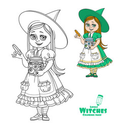 cute girl in witch costume holding a big jar vector image