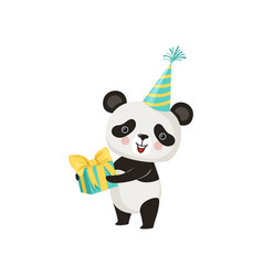 cute panda in party hat with gift box in paws vector image