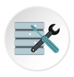 Database setup icon flat style vector