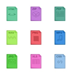 Document file format icons set cartoon style vector