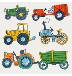 Doodle agricultural tractors on a white vector