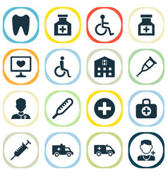 Drug icons set with medical sign crutch brougham vector