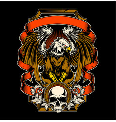 Eagle and skull hand drawing vector