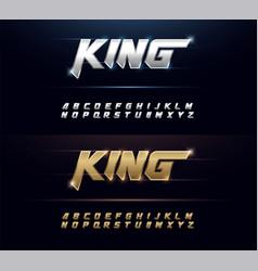 elegant silver and golden metal chrome alphabet vector image