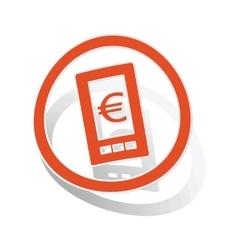 Euro screen sign sticker orange vector
