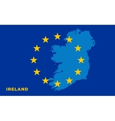 Flag of European Union with Ireland on background vector