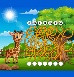 Game giraffe maze find way to the word vector