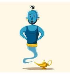Genie coming out a magic lamp cartoon vector