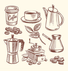 Hand drawn coffee cup beans leaves coffeepot vector