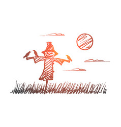 Hand drawn halloween scarecrow with crows at night vector