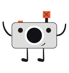 happy camera on white background vector image