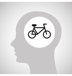 Head silhouette bicycle extreme sport vector