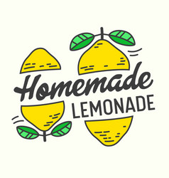 Homemade lemonade poster with doodle yellow lemons vector