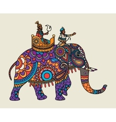 Indian ornate maharajah on the elephant vector