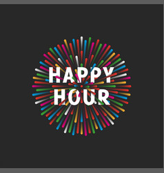 inscription happy hour on background a vector image