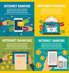 internet banking banner set flat style vector image