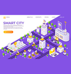 isometric city landing page smart town concept vector image