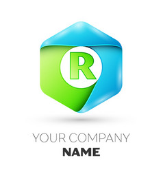 Letter r logo symbol in colorful hexagonal vector