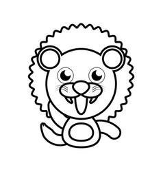 Lion animal toy outline vector