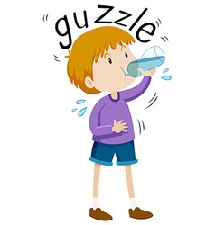 Little boy gazzle from water bottle vector image