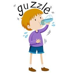 Little boy gazzle from water bottle vector
