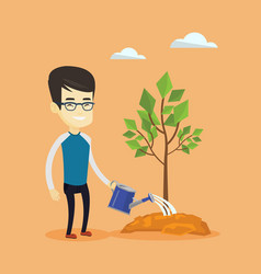Man watering tree vector