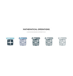 Mathematical operations icon in different style vector