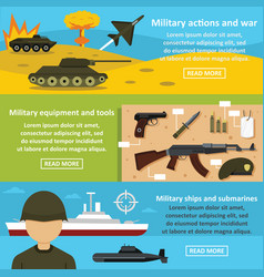 Military actions banner horizontal set flat style vector