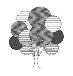 Monochrome silhouette leafy tree plant with vector