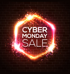 neon sign of cyber monday sale text on brick wall vector image