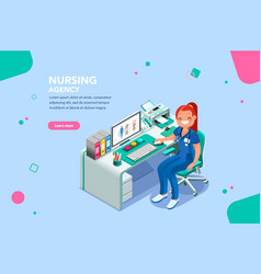 Nurse agency web page template vector