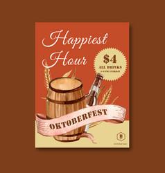 Oktoberfest poster with beer bucket beverage vector