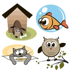 Owl fish cat and dog vector