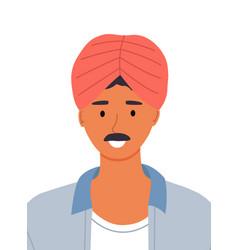portrait arab man with a mustache vector image