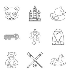 Protection icons set outline style vector