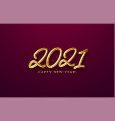 realistic shiny 3d golden inscription 2021 happy vector image