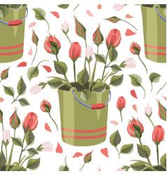 Rose bucket seamless pattern vector