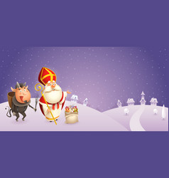 Saint nicholas and krampus are coming to town vector