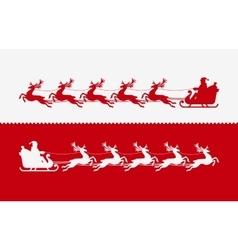 santa claus in sleigh pulled reindeer vector image