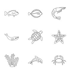 sea animals icons set outline style vector image