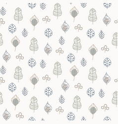 Seamless pattern with leaves outlines vector