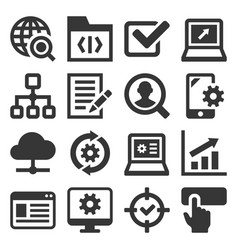 seo and internet icons set on white background vector image