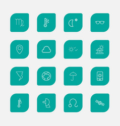 Set of 16 editable air outline icons includes vector