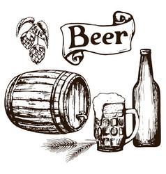 set of beer items vector image