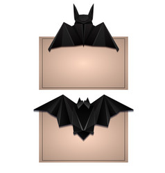set of card with 3d of origami bat halloween the vector image