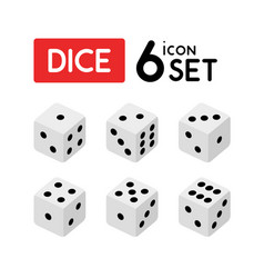 set of dice with numbers from one to six vector image