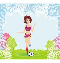 Sexy girl playing football vector