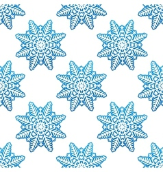 Snowflakes winter seamless pattern background vector image